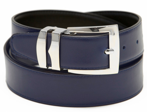 Men's Belt Reversible Wide Bonded Leather Silver-Tone Buckle NAVY BLUE / Black