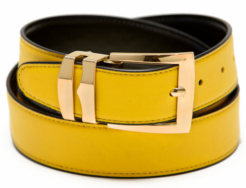 Men's Belt Reversible Wide Bonded Leather Gold-Tone Buckle YELLOW / Black