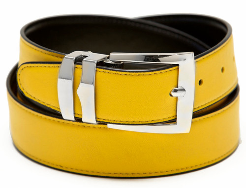Men's Belt Reversible Wide Bonded Leather Silver-Tone Buckle YELLOW / Black
