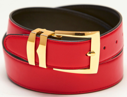 Men's Belt Reversible Wide Bonded Leather Gold-Tone Buckle RED / Black