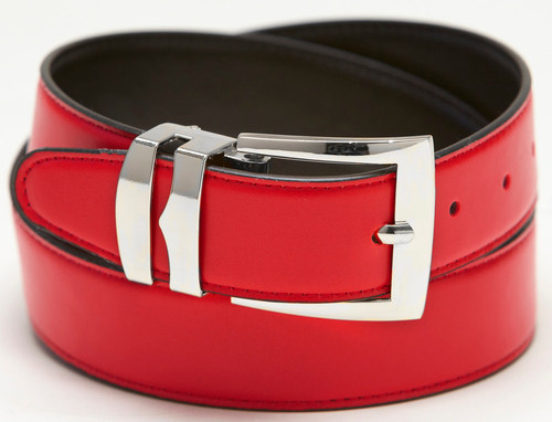 Men's Belt Reversible Wide Bonded Leather Silver-Tone Buckle RED / Black