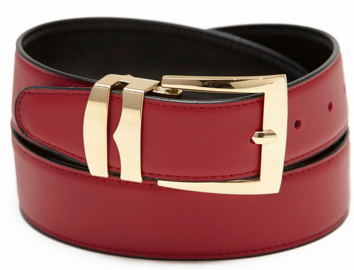 Men's Belt Reversible Wide Bonded Leather Gold-Tone Buckle APPLE RED / Black