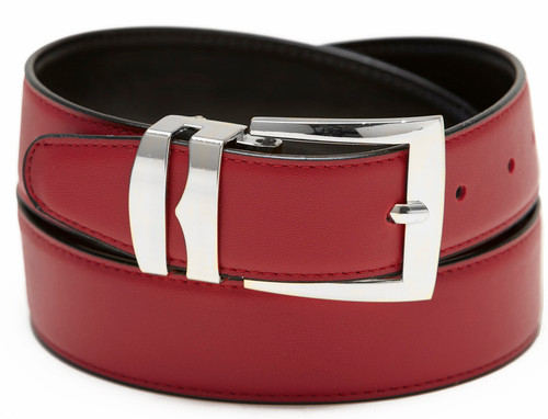 Men's Belt Reversible Wide Bonded Leather Silver-Tone Buckle APPLE RED / Black