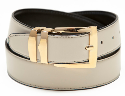 Men's Belt Reversible Wide Bonded Leather Gold-Tone Buckle CREAM / Black