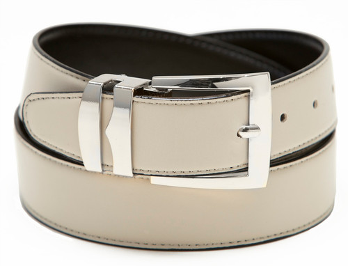 Men's Belt Reversible Wide Bonded Leather Silver-Tone Buckle CREAM / Black