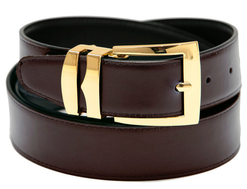 Men's Belt Reversible Wide Bonded Leather Gold-Tone Buckle BROWN / Black