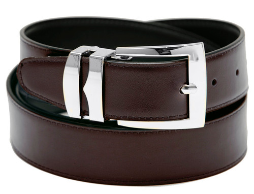 Men's Belt Reversible Wide Bonded Leather Silver-Tone Buckle BROWN / Black