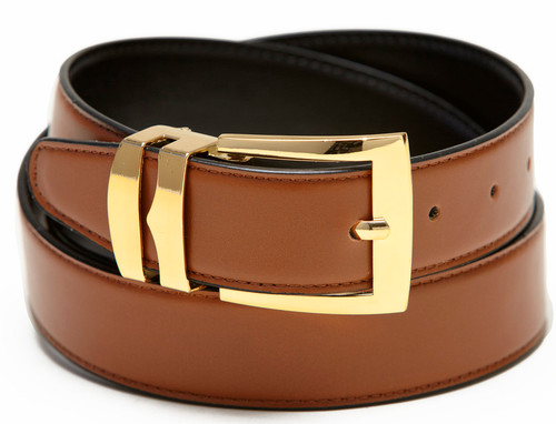 Men's Belt Reversible Wide Bonded Leather Gold-Tone Buckle CONGAC BROWN / Black