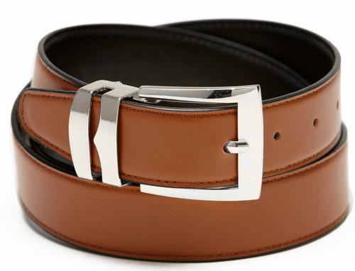 Men's Belt Reversible Wide Bonded Leather Silver-Tone Buckle CONGAC BROWN / Black