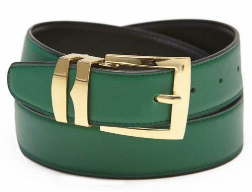 Men's Belt Reversible Wide Bonded Leather Gold-Tone Buckle GREEN / Black
