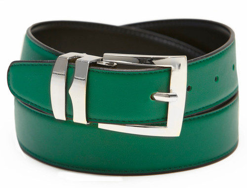 Men's Belt Reversible Wide Bonded Leather Silver-Tone Buckle GREEN / Black