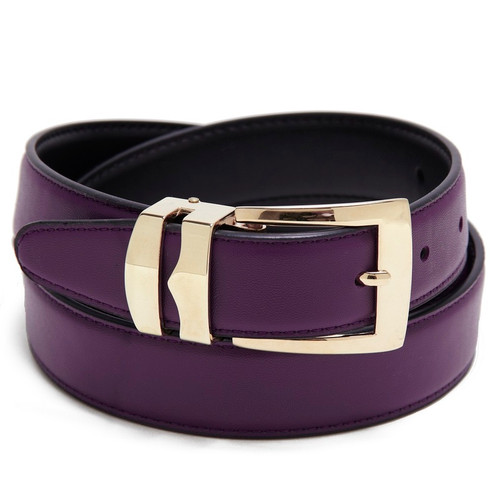 Men's Belt Reversible Wide Bonded Leather Gold-Tone Buckle PURPLE / Black