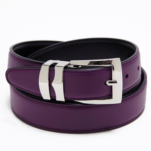 Men's Belt Reversible Wide Bonded Leather Silver-Tone Buckle PURPLE / Black