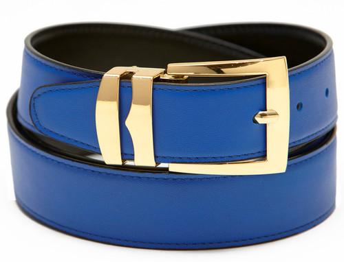 Men's Belt Reversible Wide Bonded Leather Gold-Tone Buckle ROYAL BLUE / Black