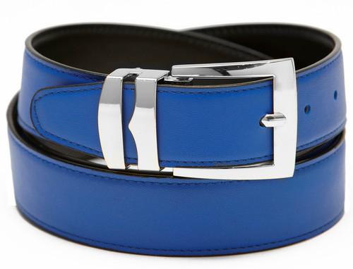 Men's Belt Reversible Wide Bonded Leather Silver-Tone Buckle ROYAL BLUE / Black