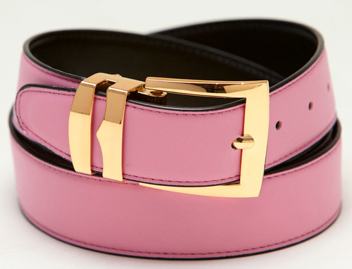Men's Belt Reversible Wide Bonded Leather Gold-Tone Buckle PINK / Black