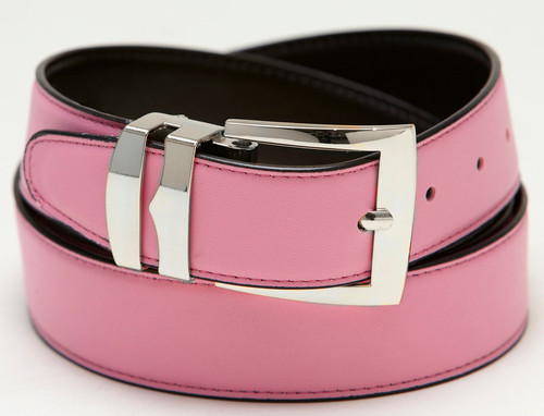 Men's Belt Reversible Wide Bonded Leather Silver-Tone Buckle PINK / Black