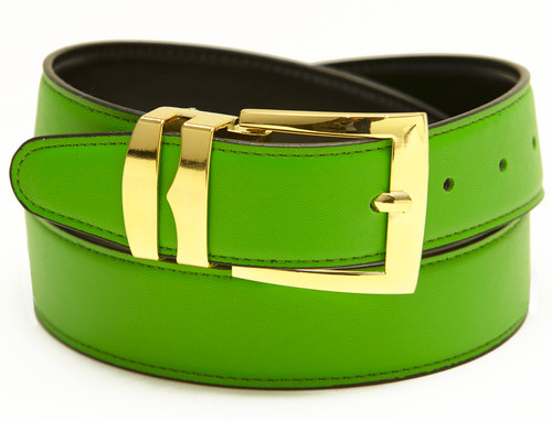 Men's Belt Reversible Wide Bonded Leather Gold-Tone Buckle LIME GREEN / Black