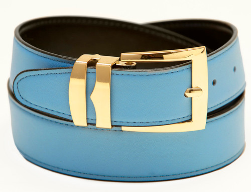 Men's Belt Reversible Wide Bonded Leather Gold-Tone Buckle SKY BLUE / Black