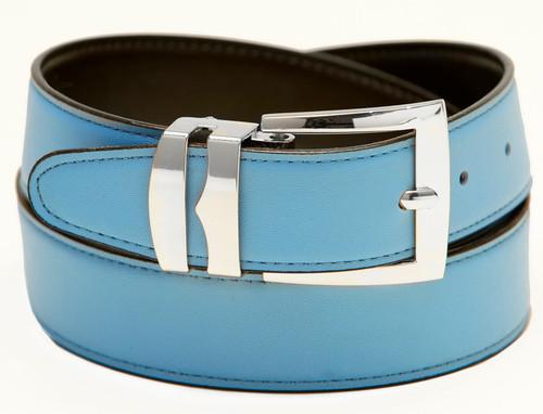 Men's Belt Reversible Wide Bonded Leather Silver-Tone Buckle SKY BLUE /Black