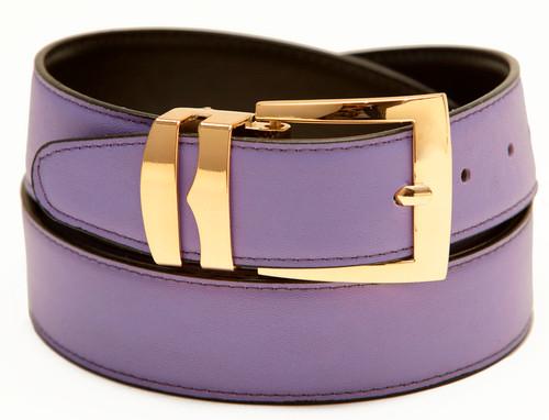 Men's Belt Reversible Wide Bonded Leather Gold-Tone Buckle LILAC / Black