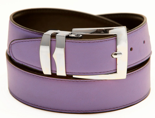 Men's Belt Reversible Wide Bonded Leather Silver-Tone Buckle LILAC / Black