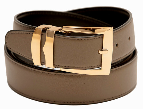 Men's Belt Reversible Wide Bonded Leather Gold-Tone Buckle TAUPE / Black