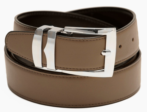 Men's Belt Reversible Wide Bonded Leather Silver-Tone Buckle TAUPE / Black