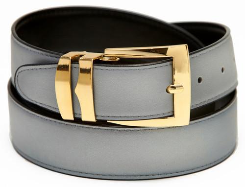 Men's Belt Reversible Wide Bonded Leather Gold-Tone Buckle SILVER / Black