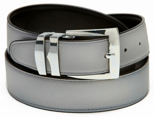 Men's Belt Reversible Wide Bonded Leather Silver-Tone Buckle SILVER / Black