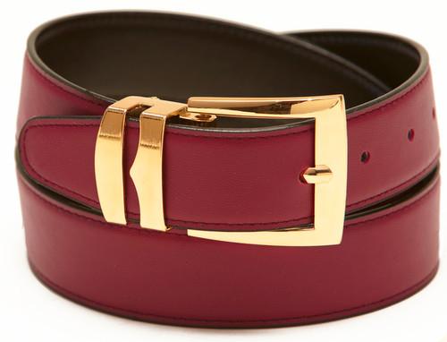 Men's Belt Reversible Wide Bonded Leather Gold-Tone Buckle BURGUNDY / Black