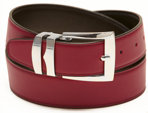 Men's Belt Reversible Wide Bonded Leather Silver-Tone Buckle BURGUNDY /Black