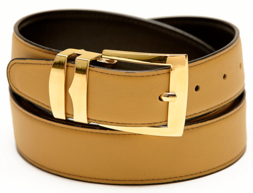 Men's Belt Reversible Wide Bonded Leather Gold-Tone Buckle GOLD / Black