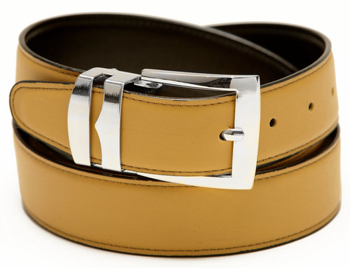Men's Belt Reversible Wide Bonded Leather Silver-Tone Buckle GOLD / Black