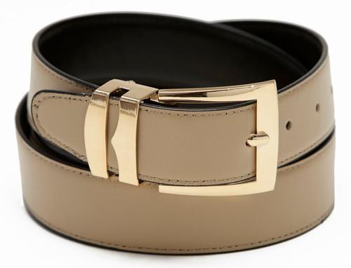 Men's Belt Reversible Wide Bonded Leather Gold-Tone Buckle BEIGE / Black