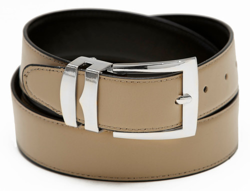 Men's Belt Reversible Wide Bonded Leather Silver-Tone Buckle BEIGE / Black
