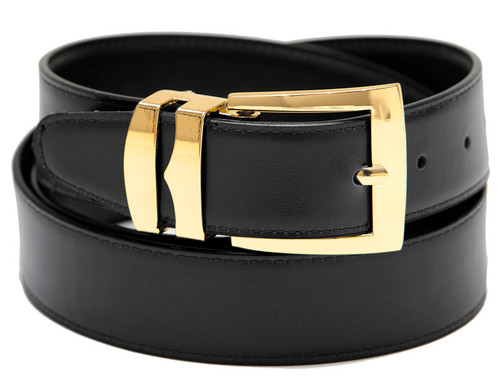 Men's Belt Reversible Wide Bonded Leather Gold-Tone Buckle BLACK / Charcoal