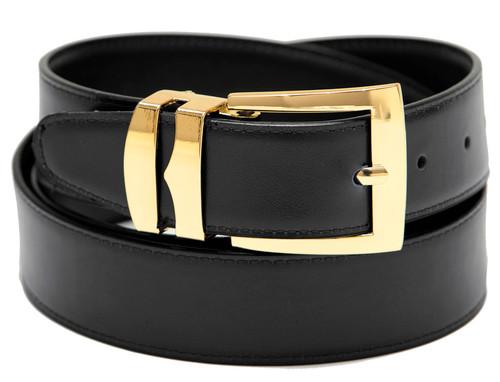 Men's Belt Reversible Wide Bonded Leather Gold-Tone Buckle BLACK / Navy Blue