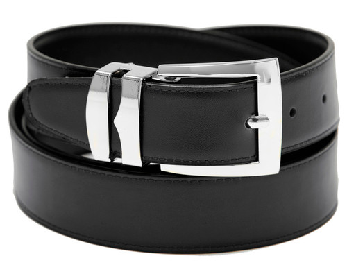 Men's Belt Reversible Wide Bonded Leather Silver-Tone Buckle BLACK / Navy Blue