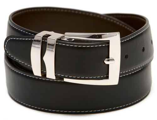 Reversible Belt Wide Bonded Leather BLACK / Brown with White Stitching Silver-Tone Buckle