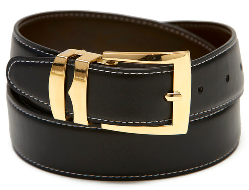 Reversible Belt Wide Bonded Leather BLACK / Brown with White Stitching Gold-Tone Buckle