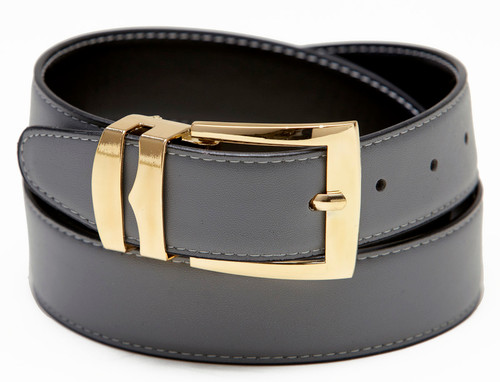 Reversible Belt Wide Bonded Leather CHARCOAL GREY / Black with White Stitching Gold-Tone Buckle