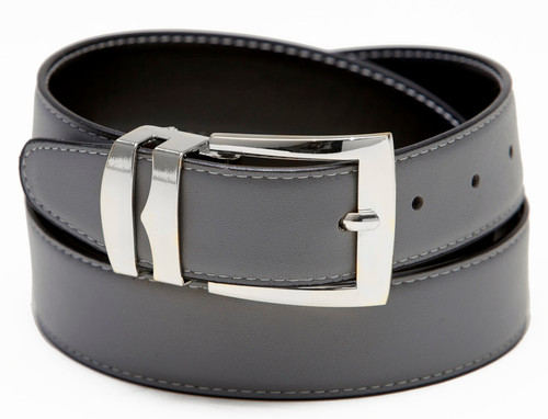 Reversible Belt Wide Bonded Leather CHARCOAL GREY / Black with White Stitching Silver-Tone Buckle