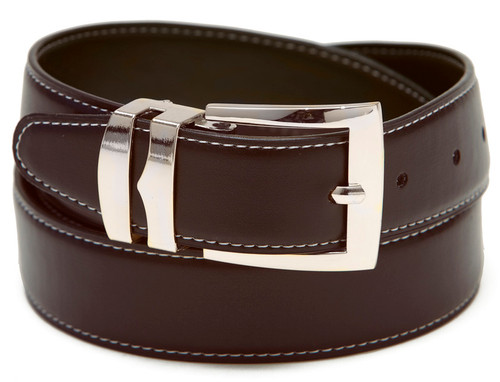 Reversible Belt Wide Bonded Leather BROWN / Black with White Stitching Silver-Tone Buckle