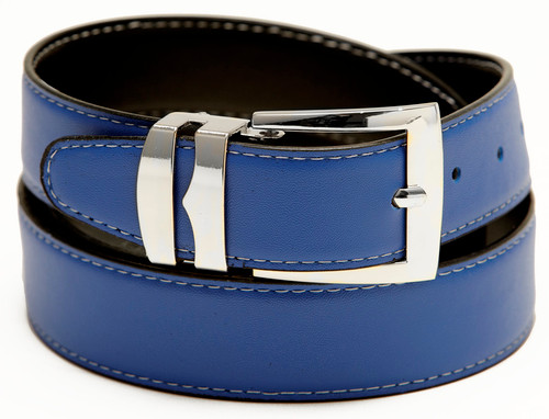Reversible Belt Wide Bonded Leather ROYAL BLUE / Black with White Stitching Silver-Tone Buckle