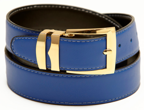 Reversible Belt Wide Bonded Leather ROYAL BLUE / Black with White Stitching Gold-Tone Buckle