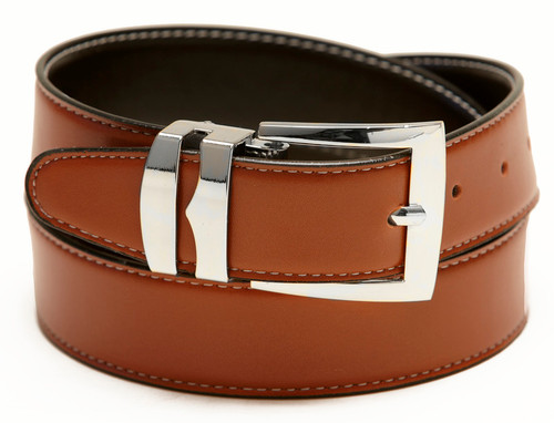 Reversible Belt Wide Bonded Leather CONGAC BROWN / Black with White Stitching Silver-Tone Buckle