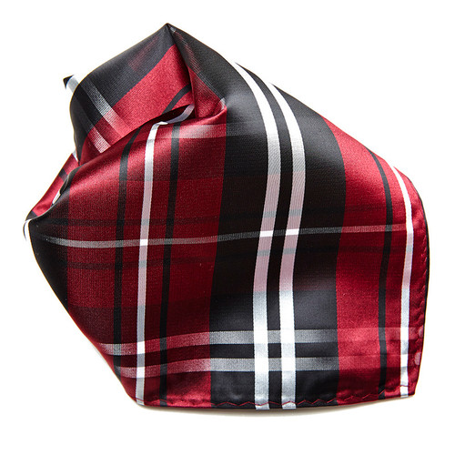 Black Burgundy White Plaid Design Men's Hankerchief Pocket Square Hanky