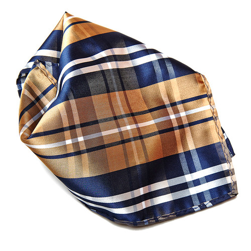 Navy Brown White Plaid Design Men's Hankerchief Pocket Square Hanky