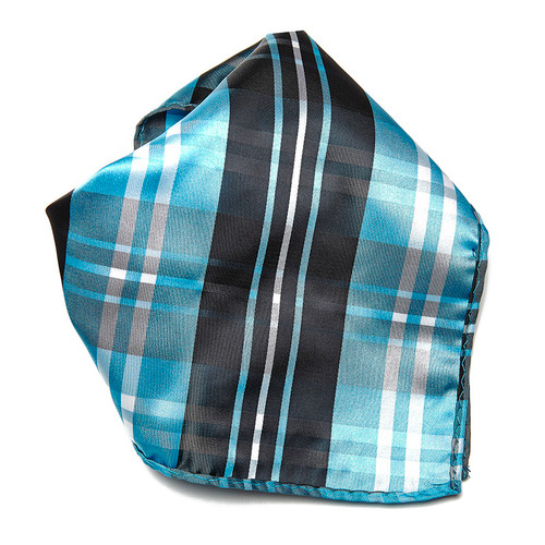 Black Turquoise White Plaid Design Men's Hankerchief Pocket Square Hanky